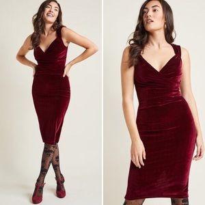 ModCloth Steady Merlot Velvet Pinup Dress RARE